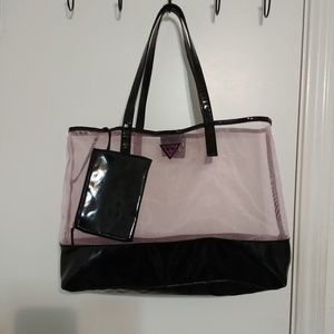 Pink Guess tote with clutch
